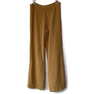 Fjall Tan Brown Angora Merino Wool Wide Leg Pants